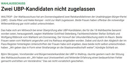 Artikel in der Online-Ausgabe der WALTROPER ZEITUNG am 23. Mai 2014: Zwei UBP-Kandidaten nicht zugelassen
