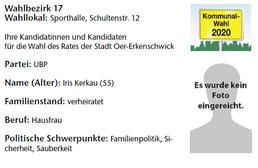 UBP-Kandidat im Wahlbezirk 17