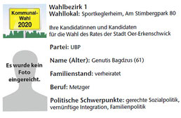 UBP-Kandidat im Wahlbezirk 1
