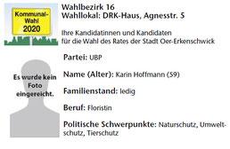UBP-Kandidat im Wahlbezirk 16