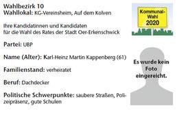 UBP-Kandidat im Wahlbezirk 10