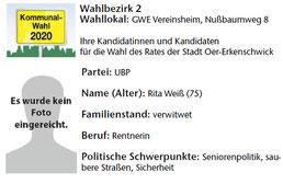 UBP-Kandidat im Wahlbezirk 2