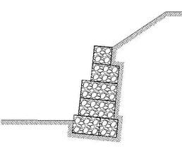 Soutènement en gabions : gradins mixtes