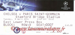 Ticket  Chelsea-PSG  2013-14
