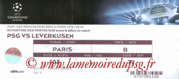 Ticket  PSG-Bayer Leverkusen  2013-14