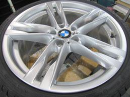 BMW640iクーペ・カブリオレの20インチ純正アルミホイールの、ガリキズ・擦り傷・欠けのリペア(修理・修復・再生)後のホイールアップ写真⑤