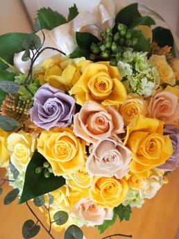 プリザーブドフラワー,大きいサイズ,豪華,高級アレンジメント,黄色,開店開業開院祝い,ビジネス花,退職祝い,ギフト
