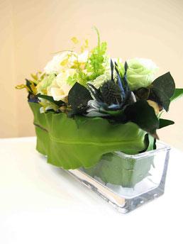 プリザーブドフラワー,ガラス花器,ギフト,花,グリーン