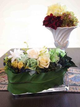 プリザーブドフラワー,アレンジメント,ガラス花器,グリーン,インテリア,祝電電報,結婚式,お祝い,贈り物,通販