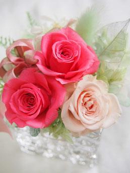 プリザーブドフラワー,ガラス花器,ギフト,花