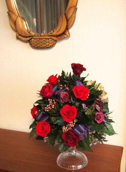 プリザーブドフラワー,お祝い,大きいサイズ,赤バラ,アレンジメント,舞台