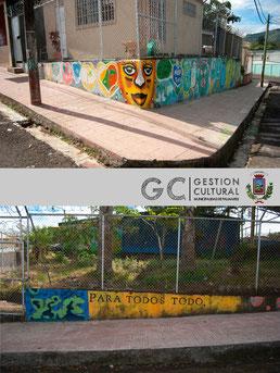 """Mural realizado por los niños de la comunidad.    Acción poética """"Para todos todo""""."""