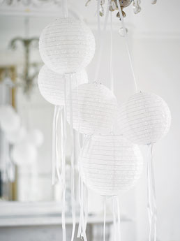 LAMPIONS AJOURES BLANCS DECORATION ANNIVERSAIRE- WHITE PARTY DECORATION