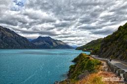 Neuseeland - Motorrad - Reise - Strecke von Queenstown nach Glenorchy - Lake Wakatipu
