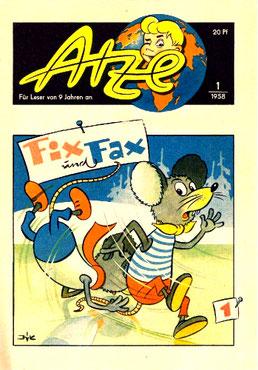 ATZE-Heft 1/1958 - Das erste Cover mit den FIX & FAX - Mäusen