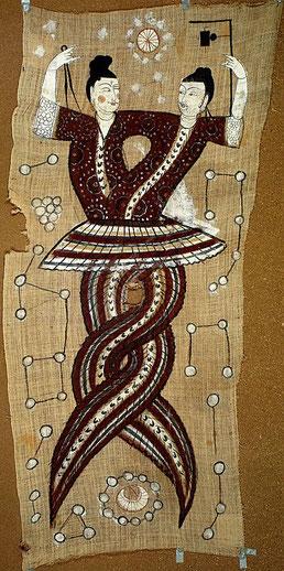 Fuxi und Nüwa, die Ureltern der chinesischen Kultur. Seidentuch aus der Tangzeit (7. Jhdt - 10. Jhdt).