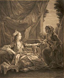 Beauvarlet, Jacques Firmin (1731 - 1797), La Sultane, d'après Carle Van Loo  Gravure en taille douce.  Musée Boucher-de-Perthes, Abbeville