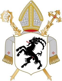 Wappen des Bistums Chur: seit dem 13. Jahrhundert der aufrechte schwarze Steinbock auf silbernem Grund. Später Wappen des Gotteshausbundes. Im 19. Jahrhundert Kantonswappen.