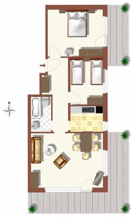 Grundriss Ferienwohnungen Apartments Alpenfirn Saas-Fee