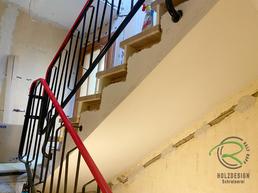 Treppensanierung neue Massivholz-Treppenstufen von Schreinerei Holzdesign Ralf Rapp in Geisingen, Treppenrenovierung Betontreppe frei gelegt, Holztreppe renovieren, Treppensanierung einer Betontreppe mit Massivholztreppenstufen in Eiche