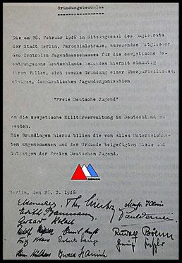 kopiebild grondlegging FDJ  ( 1946 ) collectie auteur.