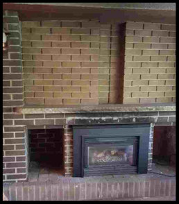 Before painting: Brick Fireplace
