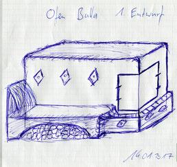 1. Entwurf vom geplanten Grundofen. Zeichnen kann Vaddi wie nen Großer! ;)