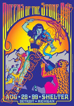 queens of the stonehage, Joshua Homme, Troy Van Leeuwen, Jon Philip Theodore,like clockwork,era vulgaris,poster,vintage rock posters,affiche,manifesto,locandina,lullabies to paralyse