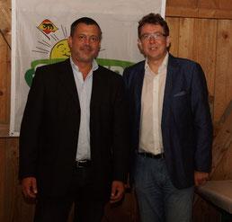 Der Präsident der SVP Schweiz, Albert Rösti mit Thomas Gerber, SVP Burgdorf