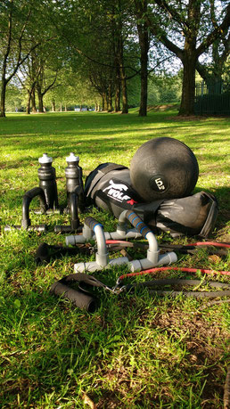 Our training kit in the local park - Dante Harker