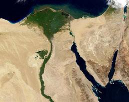 Nil mit Nildelta am Mittelmeer | Quelle: Jacques Descloitres, MODIS Rapid Response Team, NASA/GSFC [Public domain]