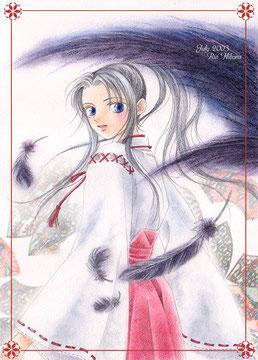2003年作の巫女のアナログイラスト