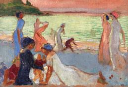 Maurice Denis, Soir de septembre (la plage de Trestignel), vers 1911, huile sur toile, collection musée des beaux-arts de Brest métropole.