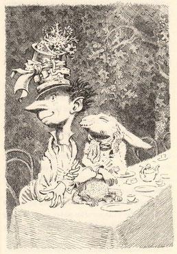 Le Chapelier Fou et le Lièvre de Mars (Lewis Caroll - Alice aux Pays des Merveilles) - Illustration de Mervyn Peake (1946)