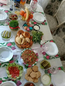 Şabnams colorful dining table for Novruz