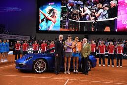 Matthias Müller, Vorsitzender des Vorstands der Porsche AG, Maria Sharapova (RUS), Ana Ivanovic (SRB), Dr. Wolfgang Porsche, Aufsichtsratsvorsitzender der Porsche AG und Porsche SE (l-r)