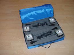 Schutztaschen für Auslegestrahler, Klemmstrahler Messestände