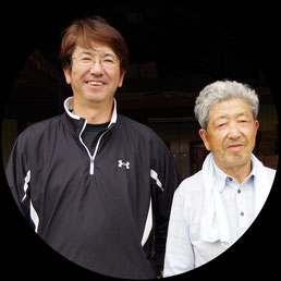 北海道日原の社長(右)と専務(左)