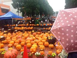 生憎の雨でしたが、街はハロウィンの準備で華やか。