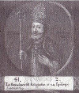 """Bernhard II. als 41. Bischof von Hildesheim auf einem Gemälde mit Medaillondarstellungen aller Hildesheimer Bischöfe bis zum Ende des 18. Jahrhunderts; lateinische Inschrift: """"Aus einem Weltlichen wurde er ein Geistlicher und aus einem Bischof ein Weltlic"""