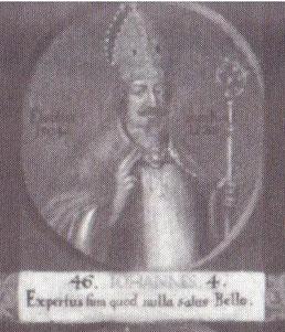"""Johannes IV. als 46. Bischof von Hildesheim auf einem Gemälde mit Medaillondarstellungen aller Hildesheimer Bischöfe bis zum Ende des 18. Jahrhunderts; lateinische Inschrift: """"Ich habe erfahren, dass im Krieg kein Heil liegt."""""""