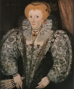 Portrait d'Elisabeth 1er portant une tenue réalisée au Blackwork reproduit sur les manches et le col