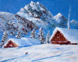 Пишем зимний пейзаж