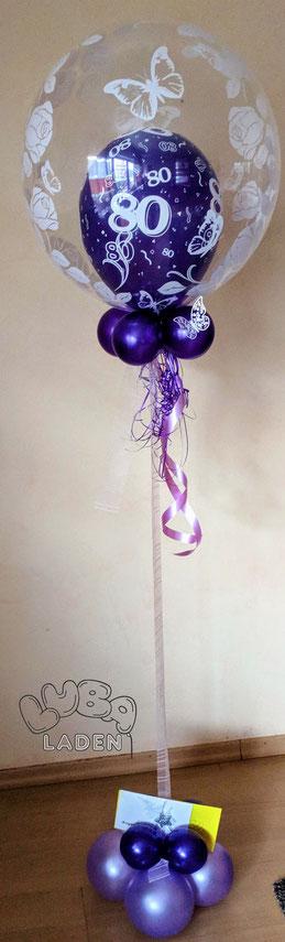 Ballon in Ballon lila 80 Geburtstag mit Ballongas