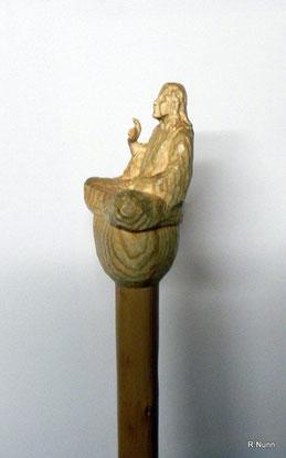 Wanderstock Knauf - Meditierender Jesus