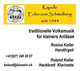 Kapelle Echo vom Schmidberg Rosina keller Handörgeli  Roland Keller  Hackbrett Klarinette