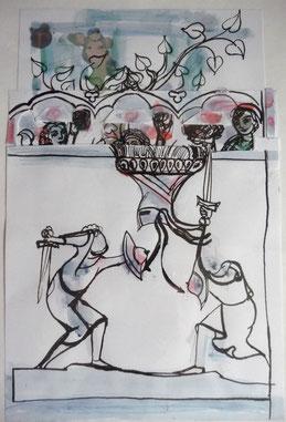 Hoch oben 24 x 18 Federzeichnung Collage, coloriert 2006