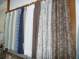 店内のカーテンサンプル