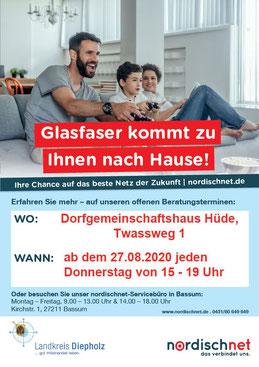 Die Firma nordischnet informiert ab 27.8.20 donnerstags von 15-19 Uhr Interessierte im Hüder Dorfhaus zum Glasfaserausbau.