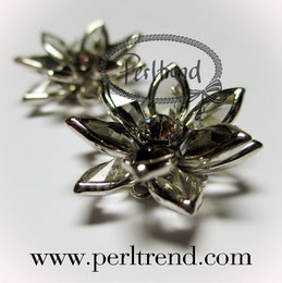Swarovski Crystal Metal Button Blume